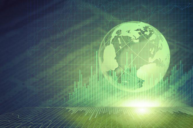 World globe and bar graph