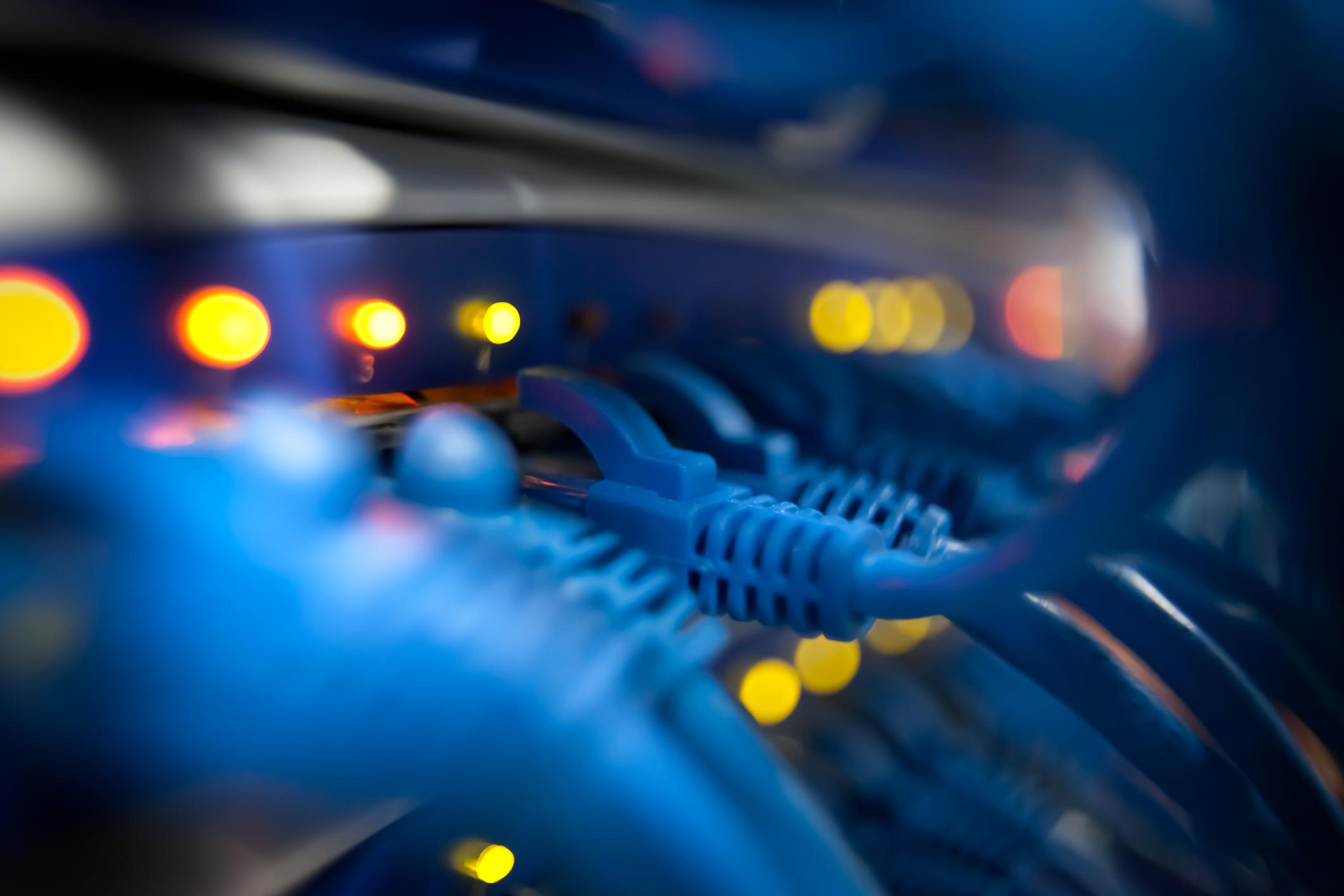 Closeup Of A Server Network Panel